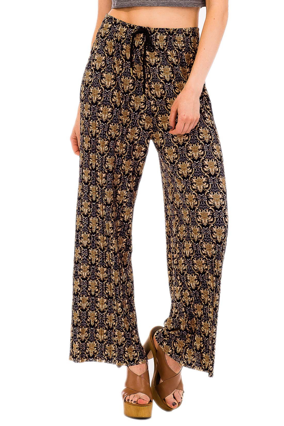 Squish Printed Drawstring Stretch Pants for Women (Gold)