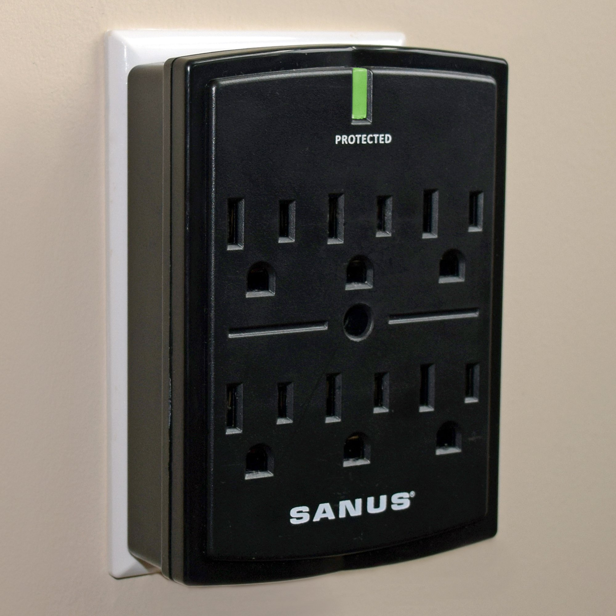 SANUS On-Wall Low Profile 1080J Fireproof Surge Protector With 6 AC Outlets & 3 Lines Of Protection - Includes Power Signal Filtering & Mounting Screw