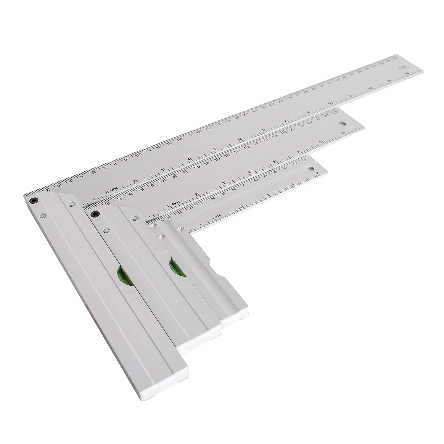"""POWERTEC 80005 L-Shaped Square Set with Levels - 3PK – 5', 8"""", 14"""" In Length – Premium Aluminum- Standard & Metric Index - The Ultimate Gift for Any Woodworking Shop"""