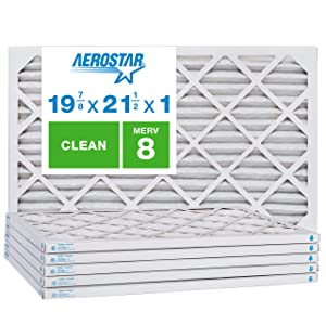Aerostar Clean House 19 7/8 x 21 1/2x1 MERV 8 Pleated Air Filter, Made in the USA, 6-Pack