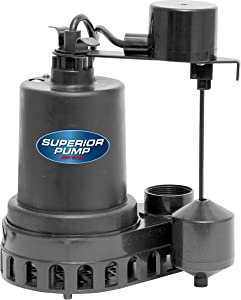 Superior Pump 92372 1/3 HP Thermoplastic Submersible Sump Pump with Vertical Float Switch
