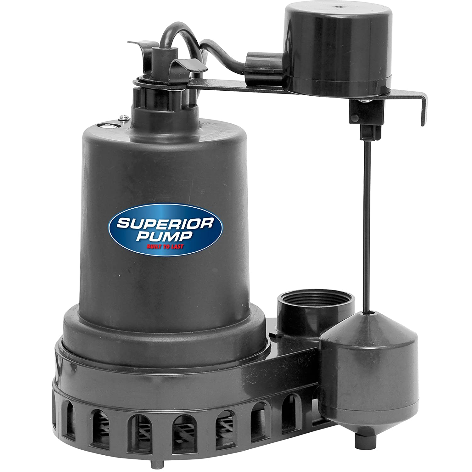 Superior Pump 92572 Thermoplastic Sump Pump with Vertical Float Switch, 1/2 HP