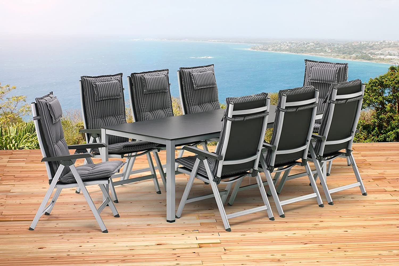 1–Mesa extensible 159/219cm y 8–Silla plegable y 8Cojines Kettler Basel Muebles de Jardín en plata antracita