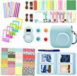 Leebotree Camera Accessories Compatible with Instax Mini 9 or Mini 8 8+ Include Case/Album/Selfie Lens/Filters/Wall Hang Frames/Film Frames/Border Stickers/Corner Stickers/Pen (Ice Blue)