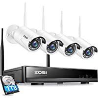 ZOSI 8 Channel1080P Wireless Security Camera System Outdoor,H.265+ Surveillance NVR with 1TB Hard Drive and 4Pcs 2MP…