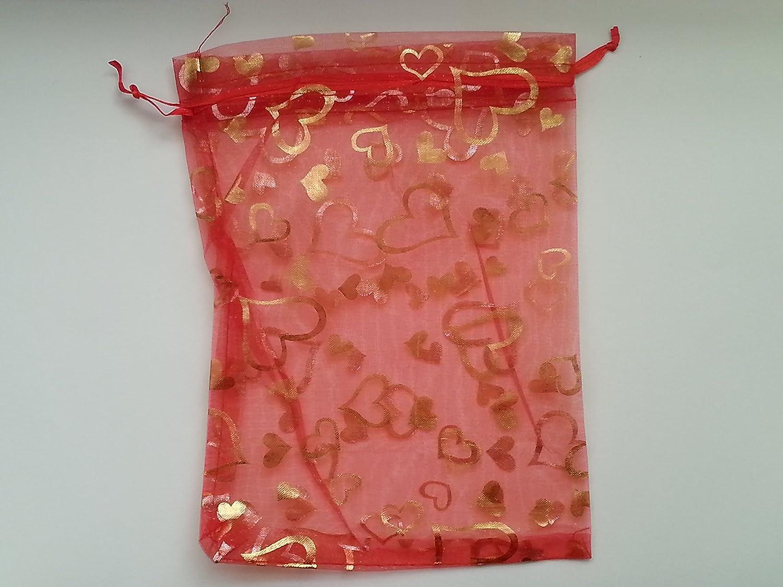 /D0179 /Rouge/ /17/x 23/cm/ 10/pi/èces C/œur cadeau en organza Sacs//pochettes /à bijoux/