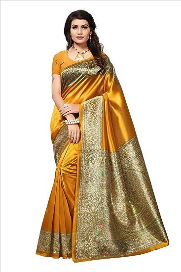 6714fea58 Softieons Ecommerce Women s Kalamkari Mysore Silk Saree with Blouse Piece  (Printed Saree) (SOFT 258 VAR)  sarees for women latest design ...
