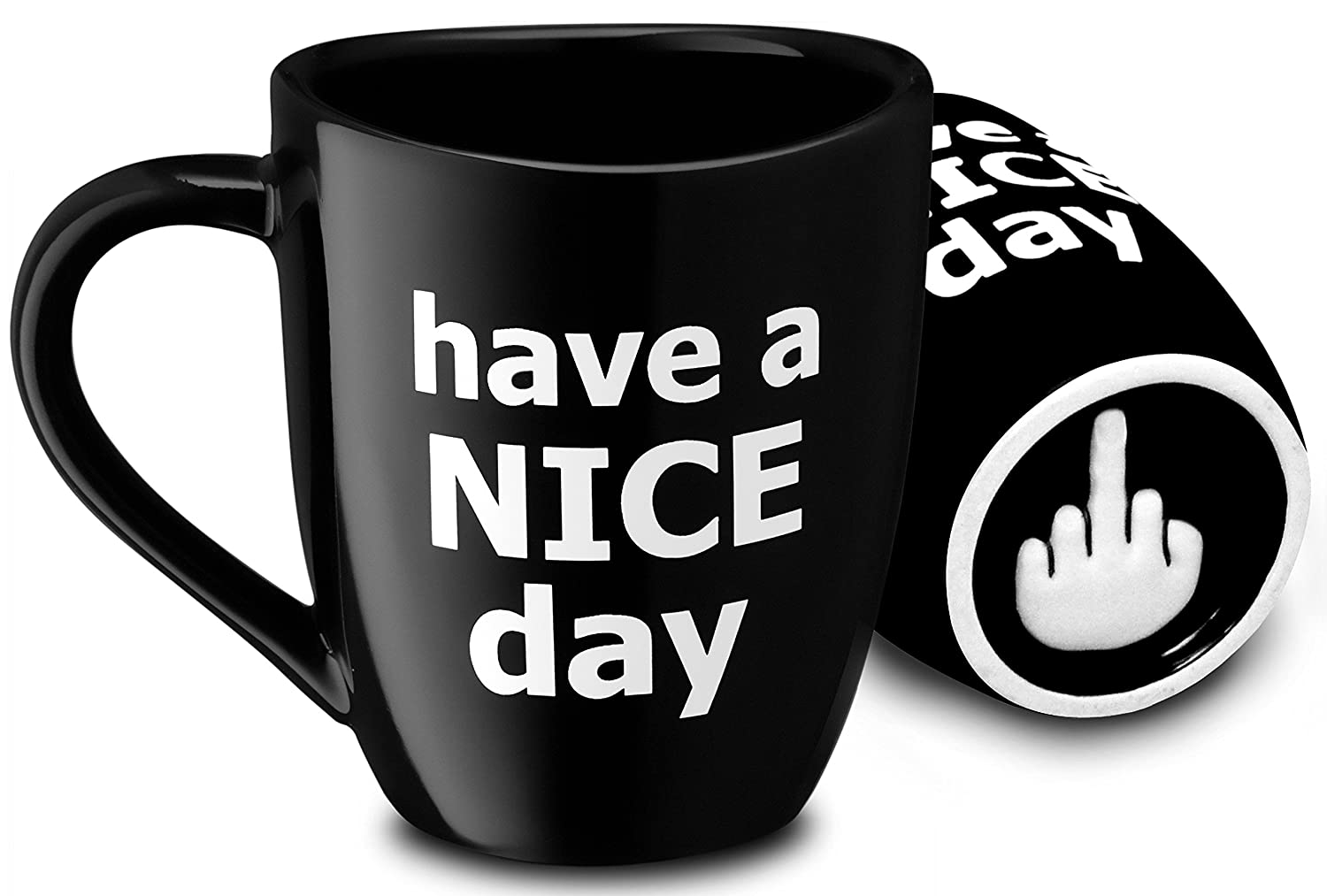 Decodyne Have a Nice Day Coffee Mug, Funny Cup with Middle Finger on the Bottom 14 oz. (Black)