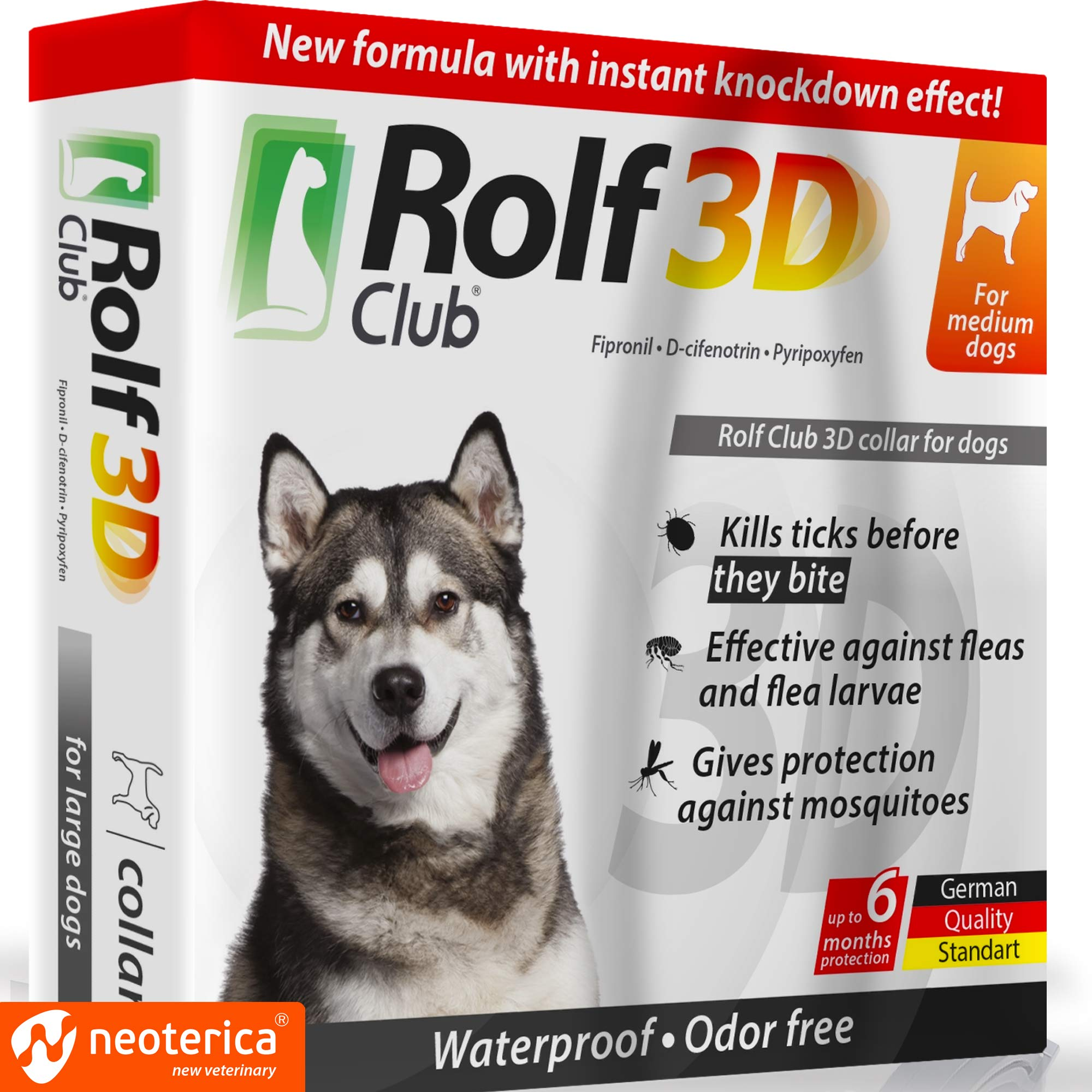 Rolf Club 3D FLEA Collar for Dogs - Flea and Tick Prevention for Dogs - Dog Flea and Tick Control for 6 Months - Safe Tick Repellent - Waterproof Tick Treatment ... (65LB) by Rolf Club 3D