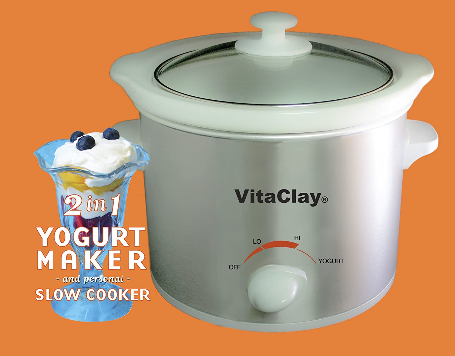 VitaClay VS7600-2 Stoneware Yogurt Maker and Slow Cooker, 64-Ounce, Stainless Steel