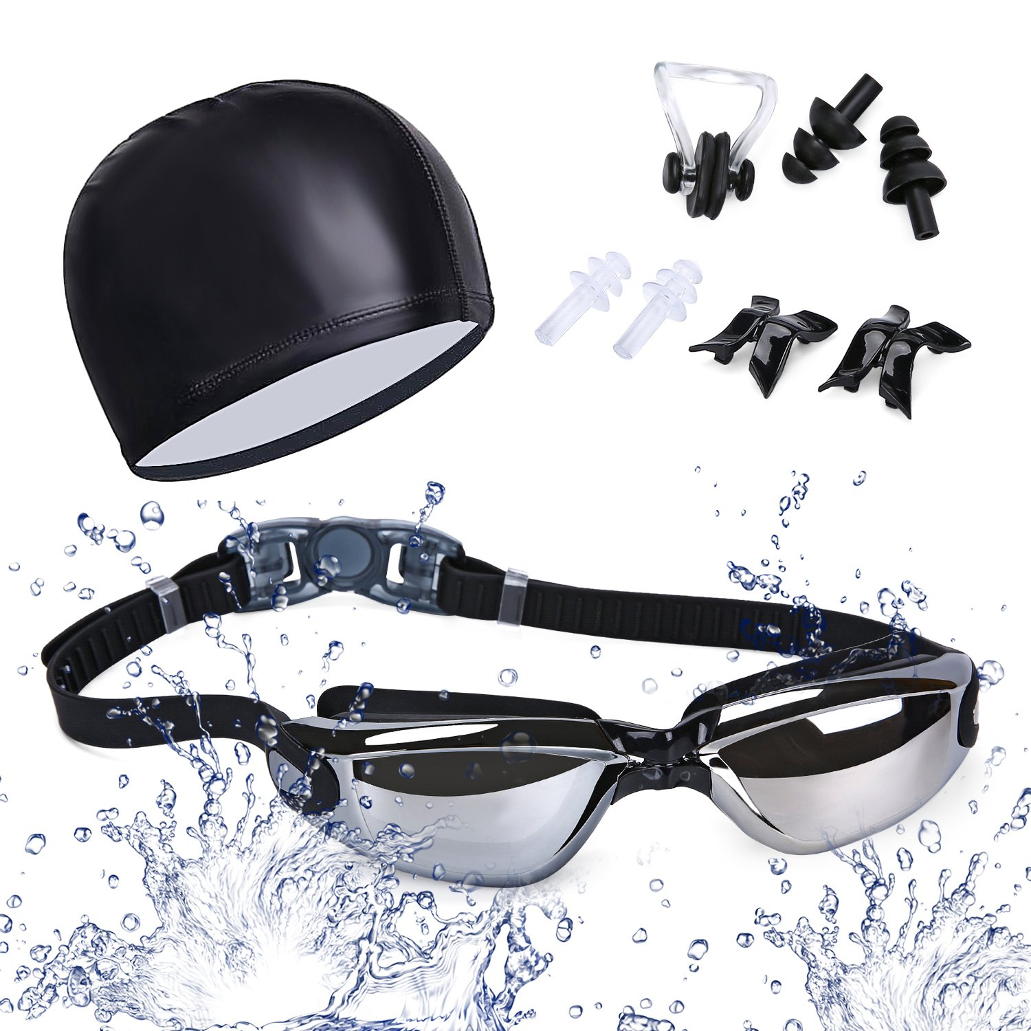 Laufen Anti-fog swimming goggles, 100% UV-protection, mirror-coated lenses, anti- fog diving goggles with adjustable silicone strap with quick-release, plus free ear plugs, nose clip and swimming cap