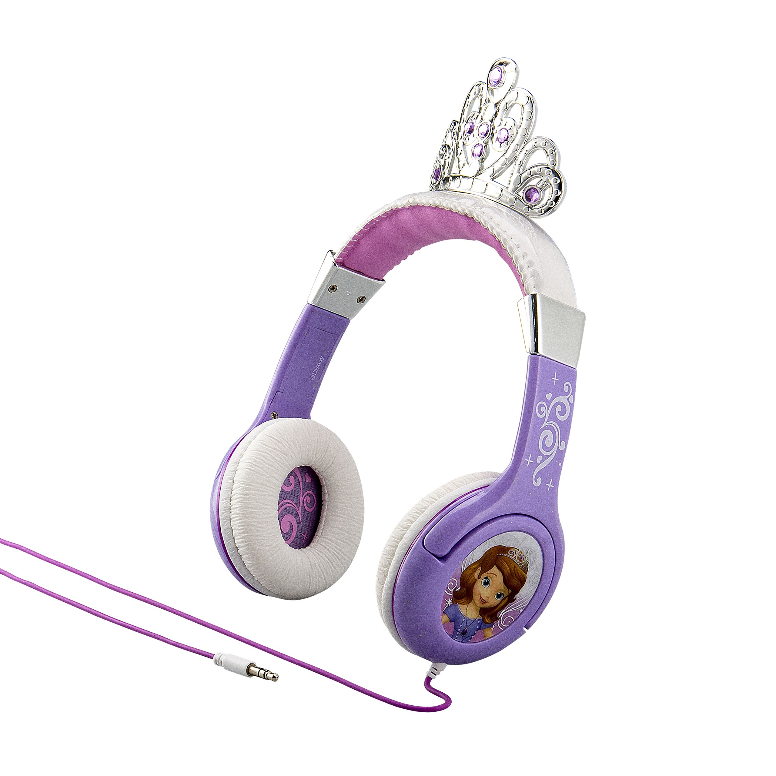KIDdesigns Sofia The First Kid Friendly Princess Headphones with Built in Volume Limiting Feature for Safe Listening by KIDdesigns