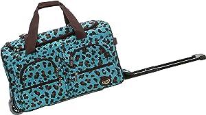 Rockland Rolling Duffel Bag, Blue Leopard, 22-Inch