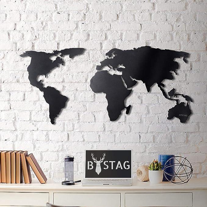 Tubibu World Map - Cuadro decorativo para pared, diseño de mapa del mundo, 100% metal 2D, escultura, grande y ancho, tamaño (23.6 x 47.2