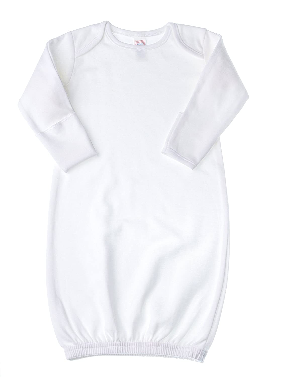 Amazon.com: Baby Jay Newborn Sleeper Gown - White Soft Cotton Baby ...