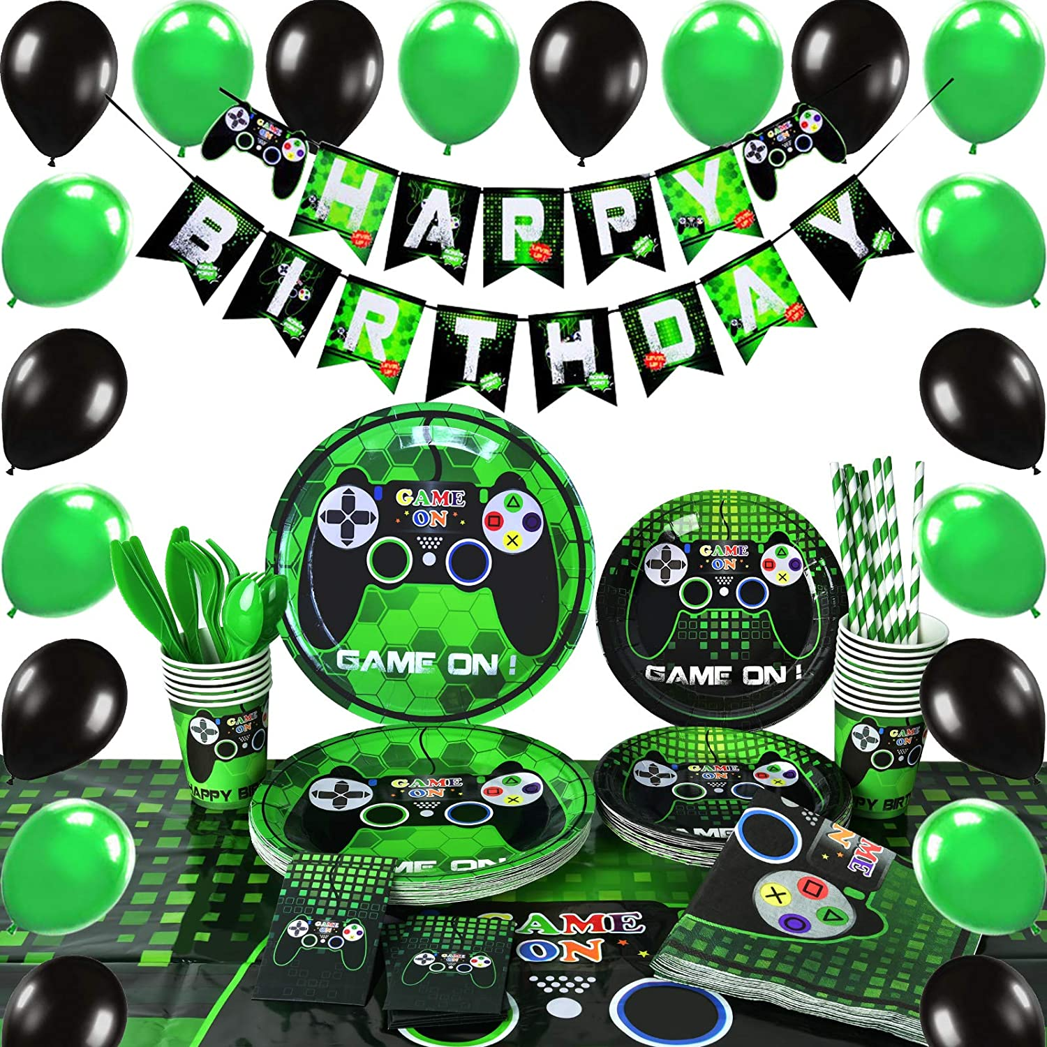 141 PCS Video Game Party Supplies,Boys Birthday Party,Boys Birthday Party,Banner Balloons Tableware,Serves 16 Guests