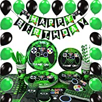 WERNNSAI Video Game Party Supplies - Video Game Birthday Party for Boys Decoration Cutlery Bag Table Cover Plates Cups…