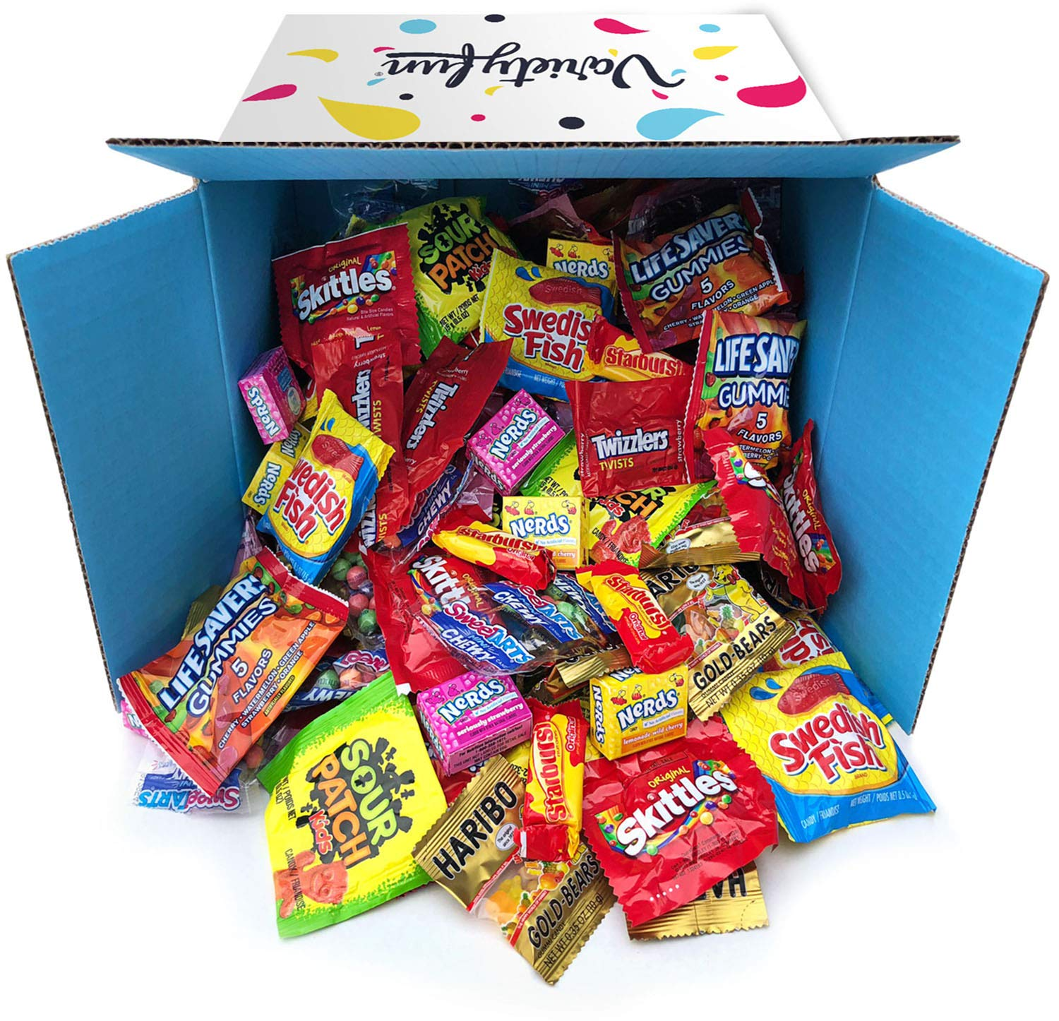 Candy Party Mix Bulk Bag of Skittles Swedish Fish Nerds Haribo Gummy Sour Patch Twizzlers Starburst Mike and Ike Variety Fun Peppermints n' more! by Variety Fun Net wt (288 oz) by Custom Varietea