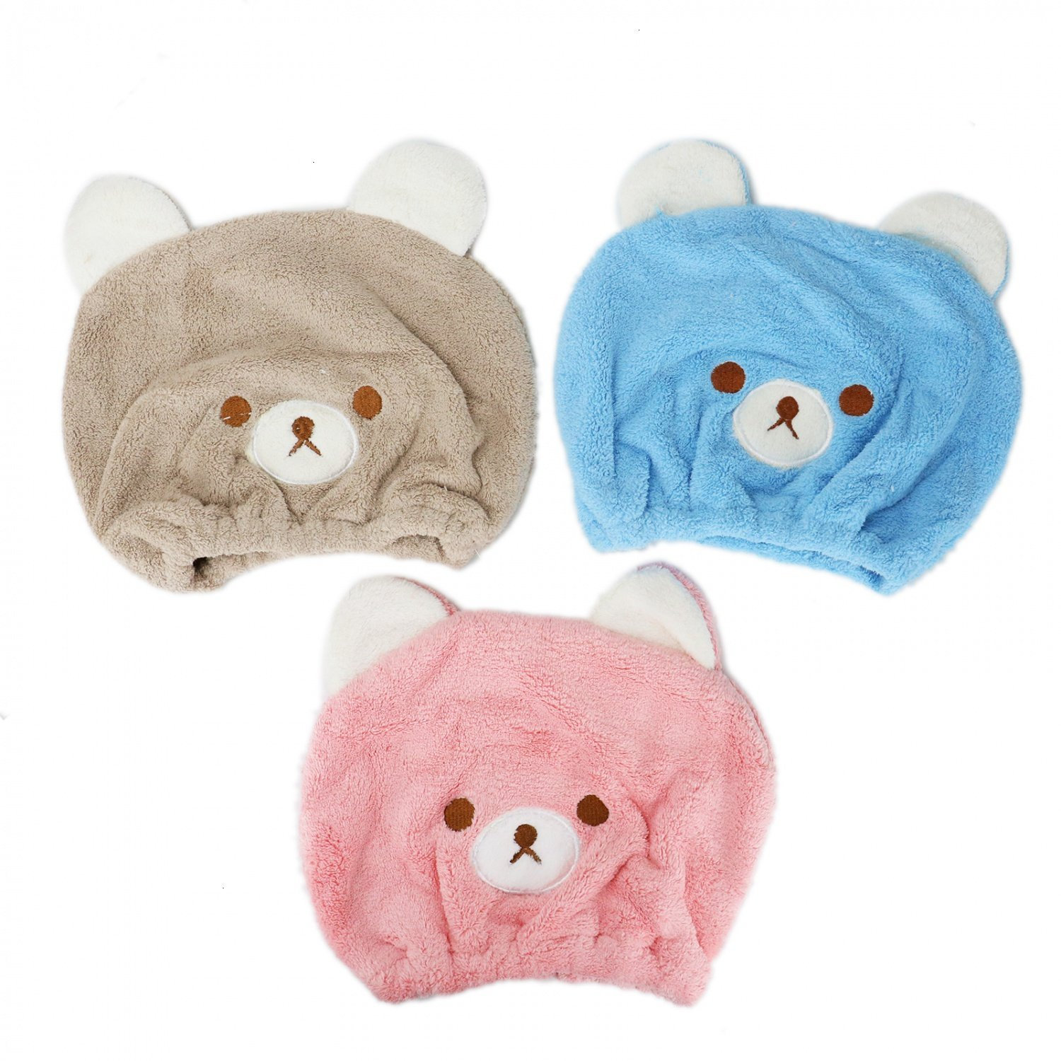 Buorsa Kids Hair Drying Towel Cute Animal Cap Dry Cap Hair Cap Water Absorption Towel Girls Ultra Absorbent & Quick Drying Adjustable Infant Shower Bath Cap for Kids