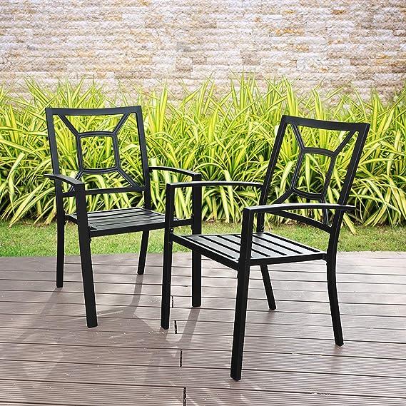 Amazon.com: PHI VILLA - Sillas apilables de metal para patio ...