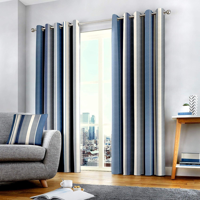 Fusion Vorhänge mit Ösen, gefüttert, 100% Baumwolle, 168 x 229 cm, Blau