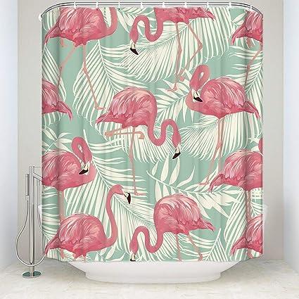 Pink Flamingo Bathroom Decor.Tropical Plant Print Shower Curtain Couple Pink Flamingo Bath Decorations Bathroom Decor Sets With Hooks Marriage Gifts Bath Stall Size 36x72inch
