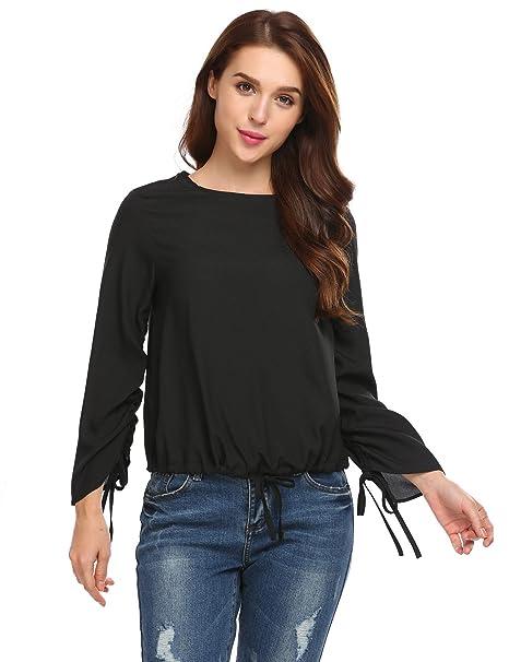 Zeagoo Long Sleeve Blouse Top, Womens O Neck Shrring Fall T Shirt Black M