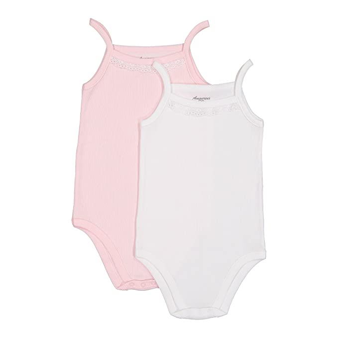 71dc5f4f397e41 Amoureux Bebe Baby Girls Camisole Onesies 100% Cotton Ribbed White/Pink 2pk  Nb