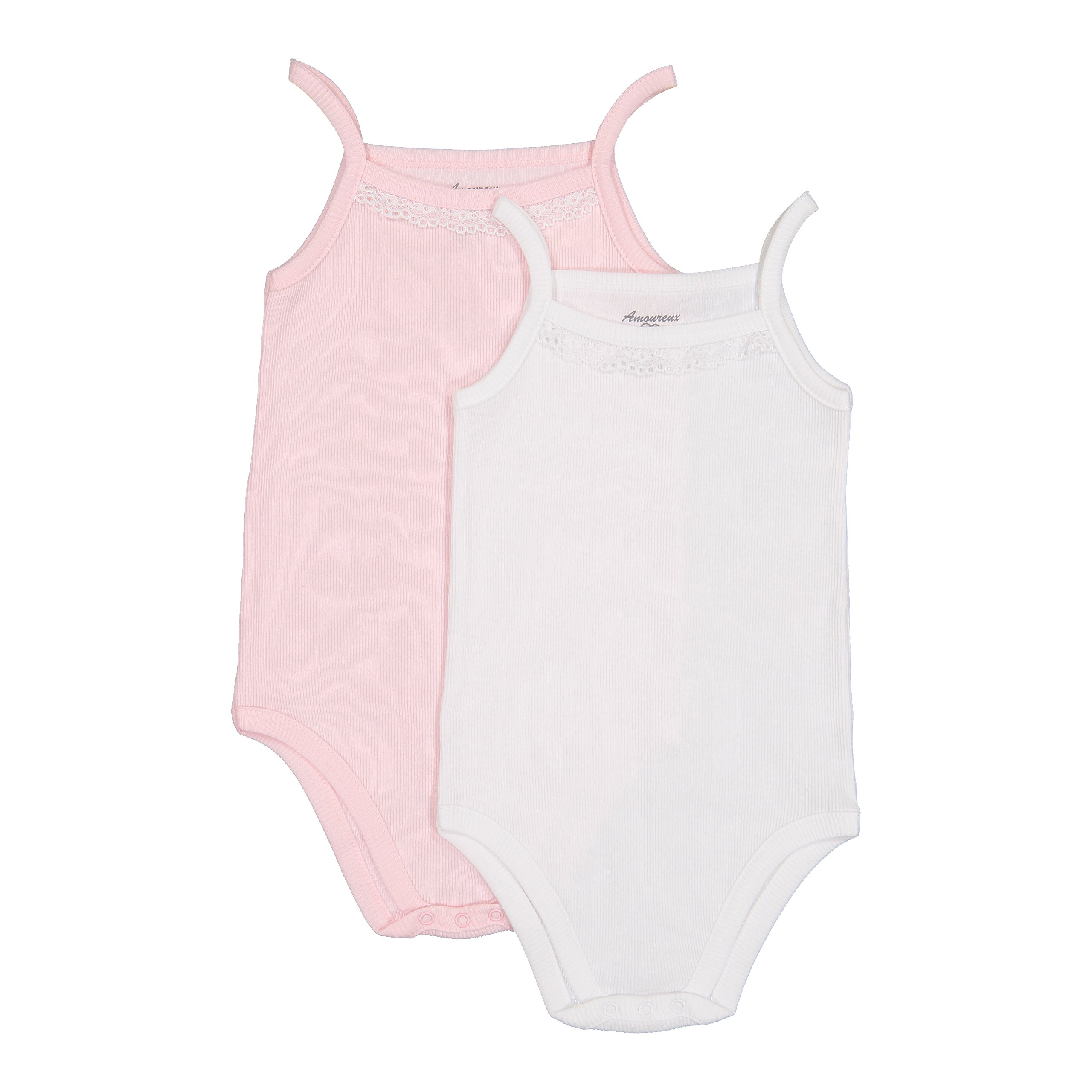 Amoureux Bebe Baby Girls Camisole Onesies 100% Cotton Ribbed White/Pink 2pk 3m