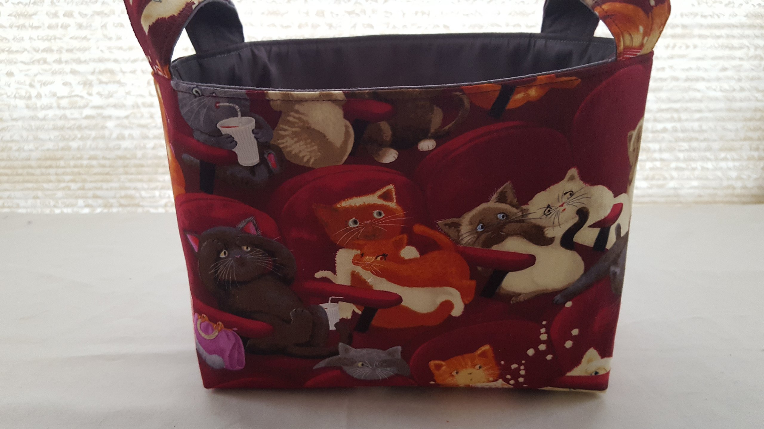 Fabric Organizer Basket Bin Caddy Storage Container - Movie Theater Cats Maroon