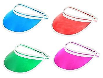 3a125b87 Mega_Jumble® Pack of 4 Sun Visor Hat Headband Green, Red, Pink, Blue ...