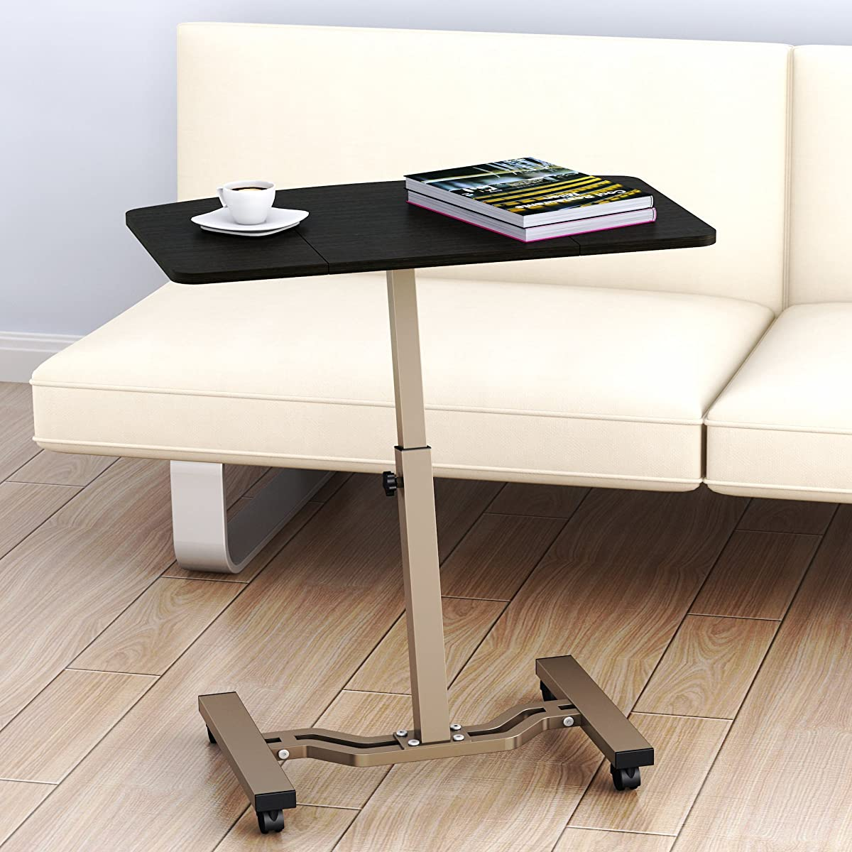 SHW Height Adjustable Mobile Laptop Stand Desk Rolling Cart