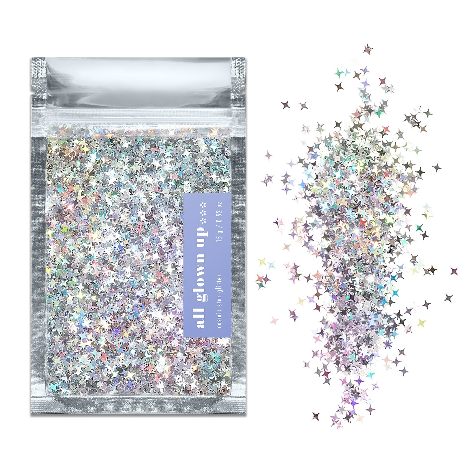 Silver Holographic Cosmic Star Chunky Cosmetic Glitter (15g) - Great for Festivals, For Use on Face, Body, Hair, and Nails - by All Glown Up HCS15