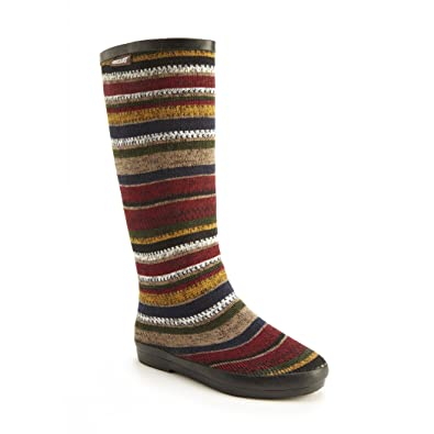 MUK LUKS Womens Aubrie Patterned Rain Boot Red