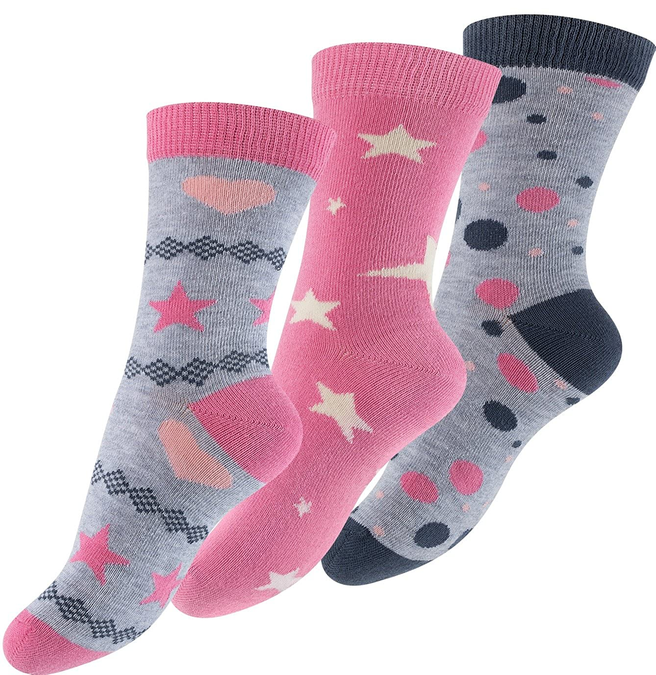Lot de 6 paires de socquettes pour fille design: Design: ast/érisque fille point coeur -multicolore