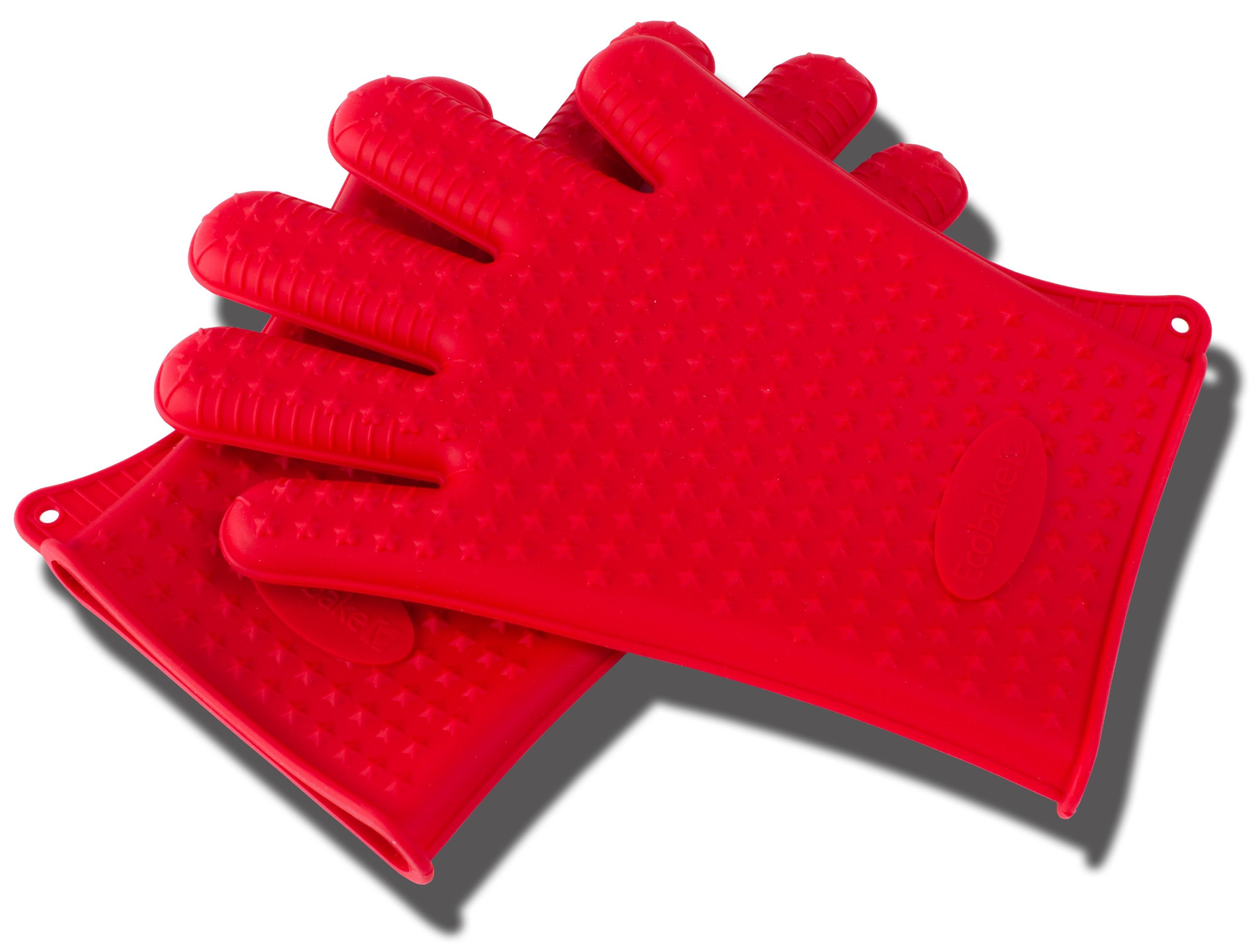 Red Silicone BBQ and Kitchen Glove Set. Great for Barbeque Grill and as Kitchen Potholder or Mitt for Baking and Cooking! 1 Pair