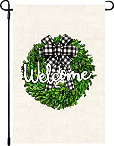 CAVLA Welcome Boxwood Wreath Garden Flag Double Sided 12 x 18 Inch Spring Yard Flag Spring Summer Welcome Yard Decor Outdoor Yard Home Decorations