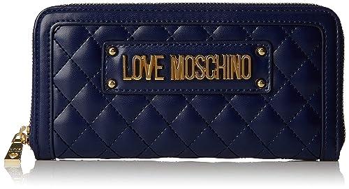 8fe11e67d1 Love Moschino Quilted Nappa Pu, Portafoglio Donna, (Blu), 15x10x15 cm (