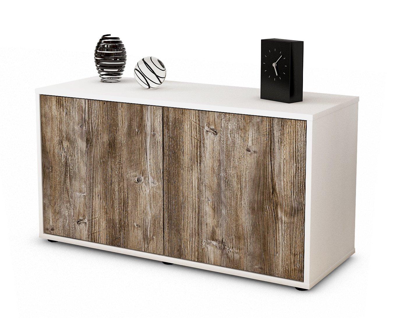 Stil.Zeit Möbel TV Schrank Niedrigboard ADA, Korpus in Weiss Matt/Front im Holz Design Treibholz (92x49x35cm), mit Push to Open Technik, Made in Germany