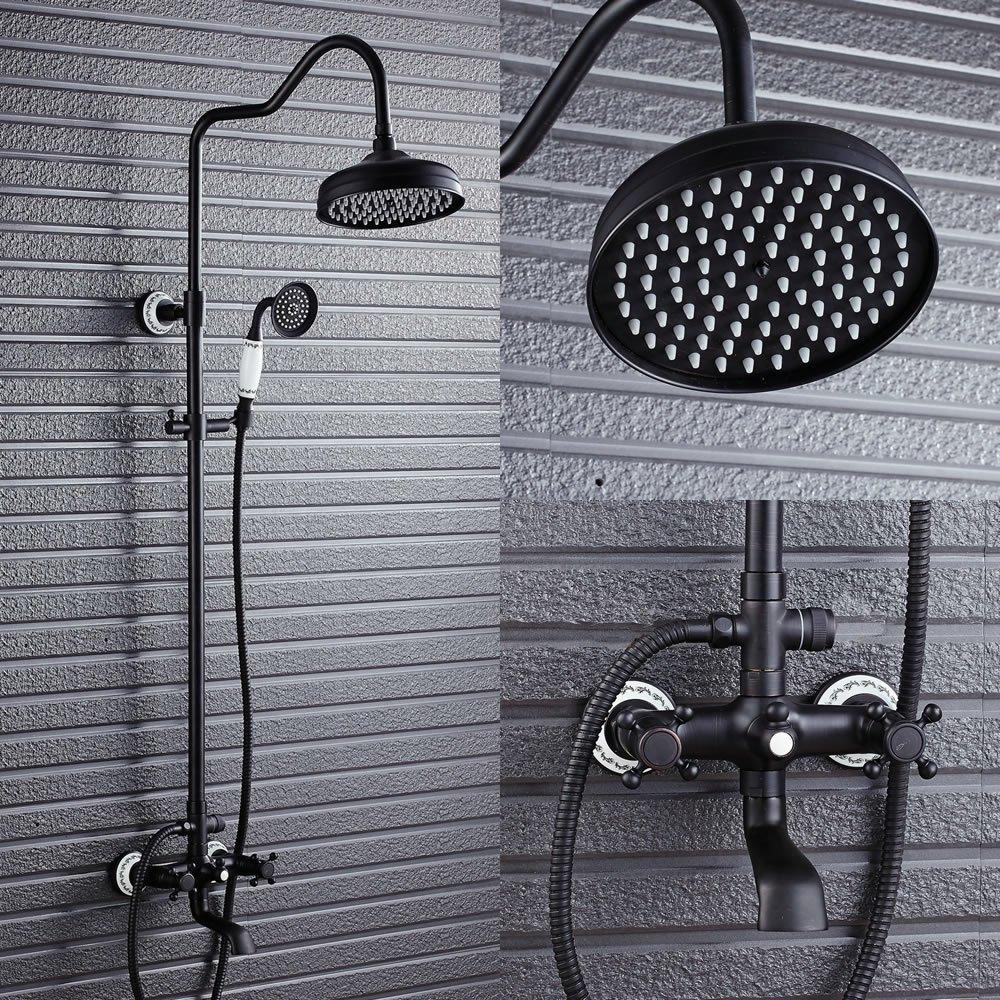 Cuarto de bañ o grifo de la ducha Set 8 'lluvia alcachofa de ducha + mano Spray + barra deslizante, bronce aceitado Heqisheng