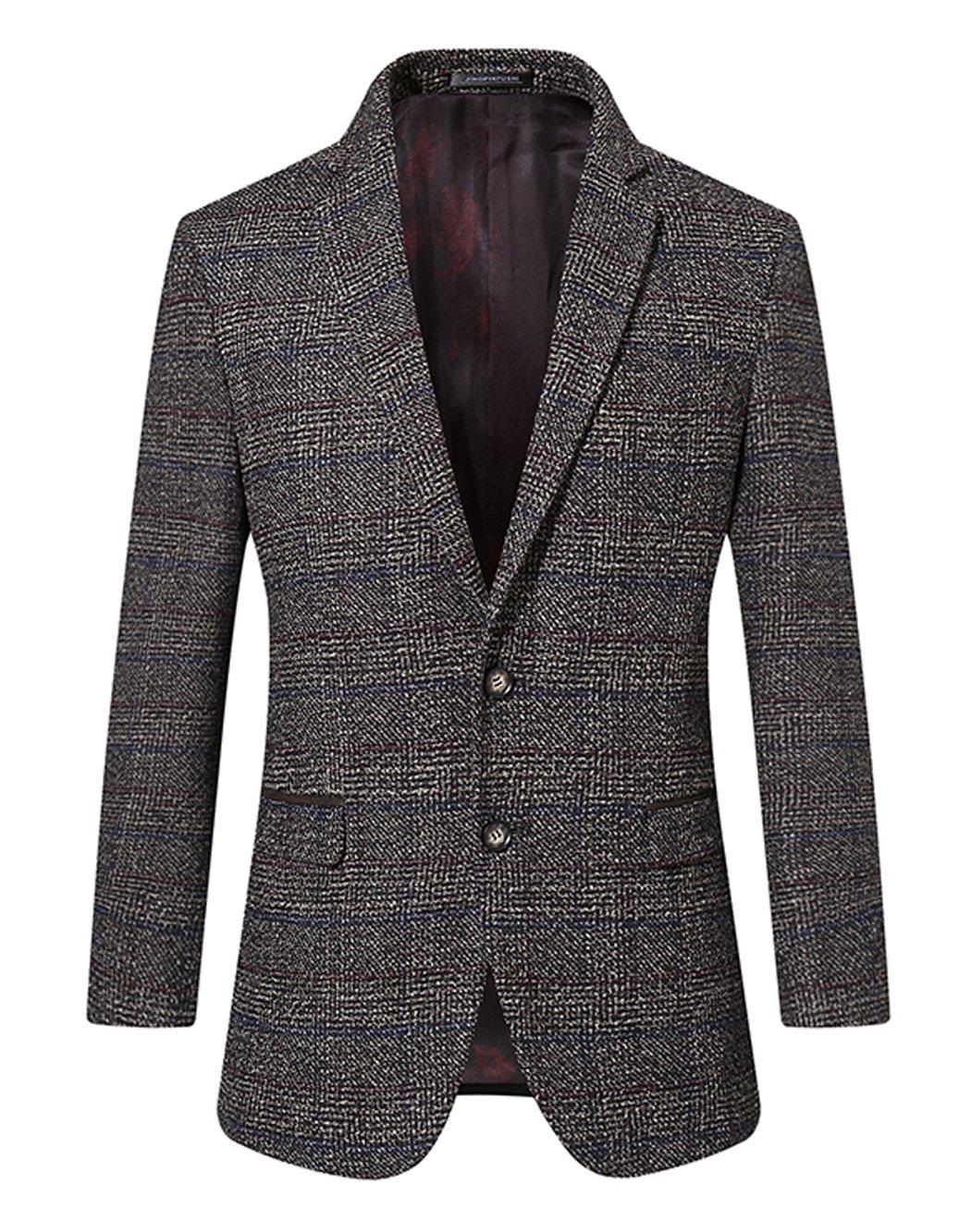 UNbox Mens Dress Casual Business Suit Two Button Slim Fit Suit Khaki XL by UNbox (Image #2)