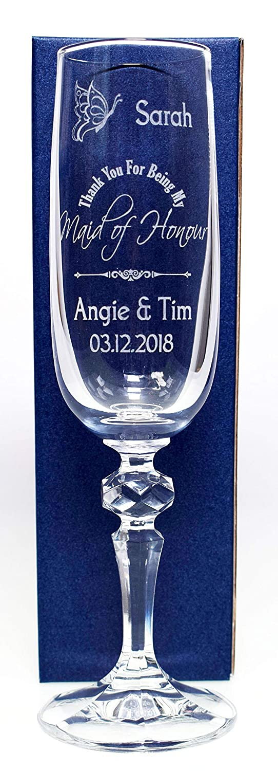 (GD) Engraved/Personalised Maid of Honour Wedding Butterfly Champagne Flute Glass Gift Cr8 A Gift