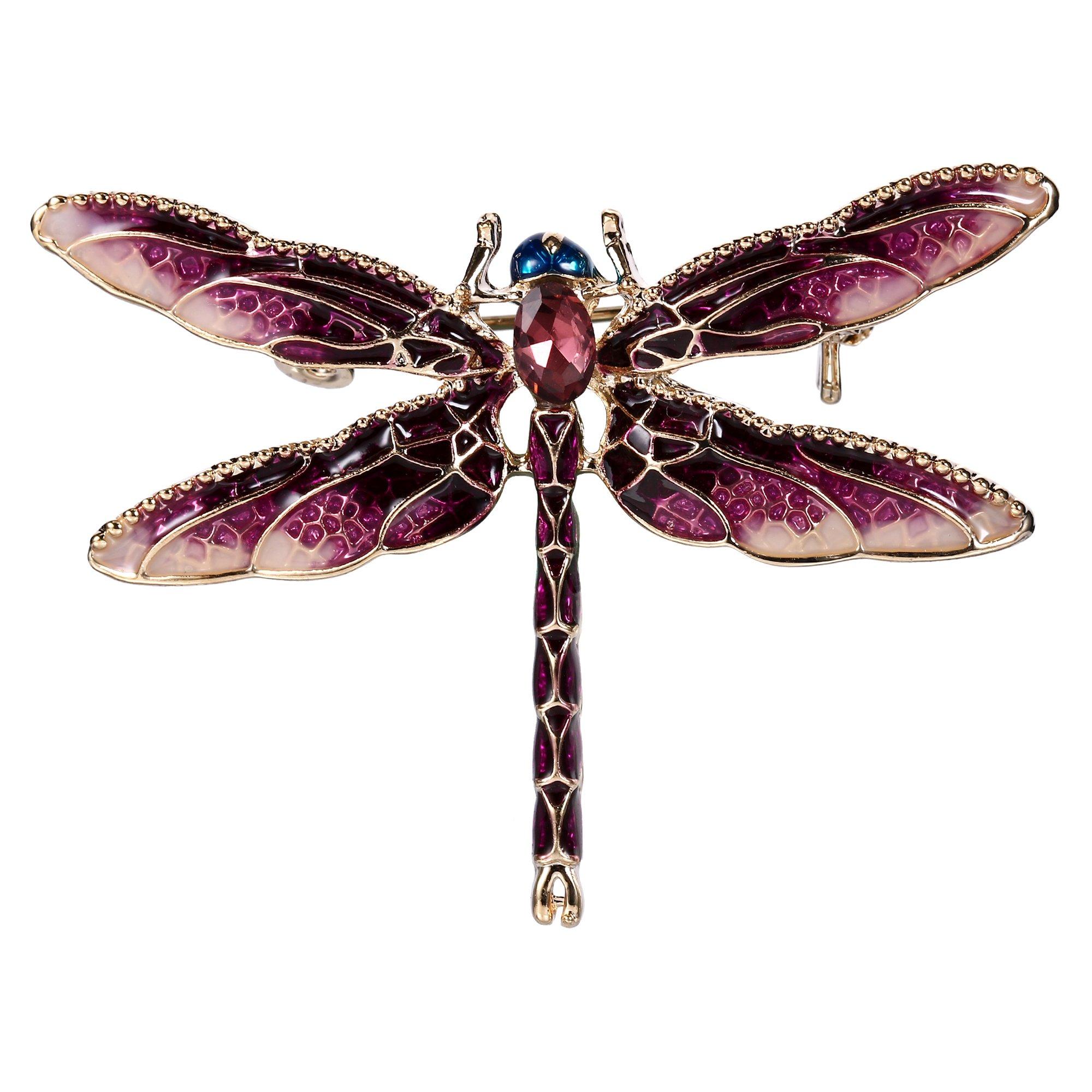 EVER FAITH Women's Austrian Crystal Purple Enamel Cute Animal Dragonfly Brooch Gold-Tone