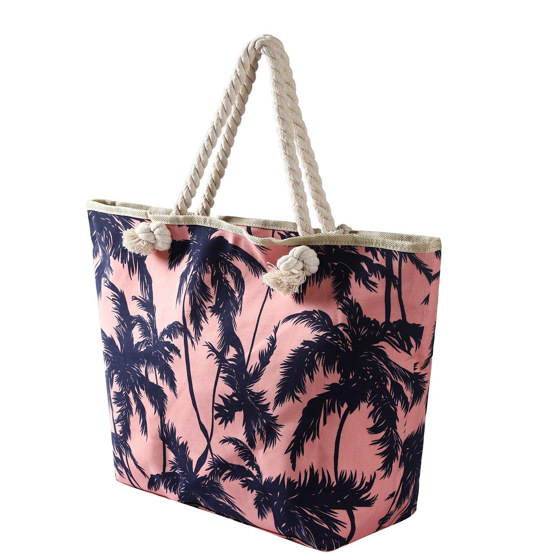 plage imperméable sac Palmes fermeture Grand BBAG65 avec rosé de q4aSZZw7v