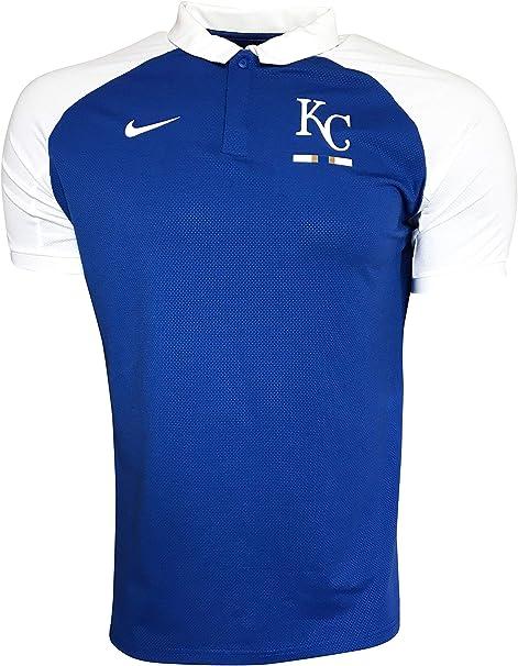 Genuine Merchandise Nike Men's Kansas City Royals Polo Shirt Polyester/Cotton Blend N911 Rush Blue/White