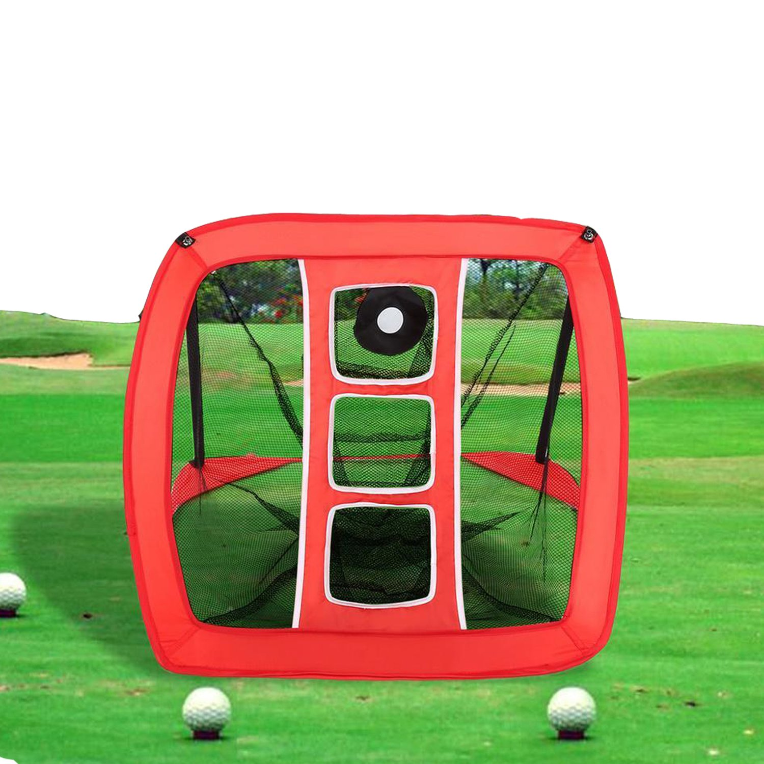 Dtemple Folding Golf Training Net With Range Marker Target Easy to Pop-Up Chipping Net with Carry Bag (US Stock)
