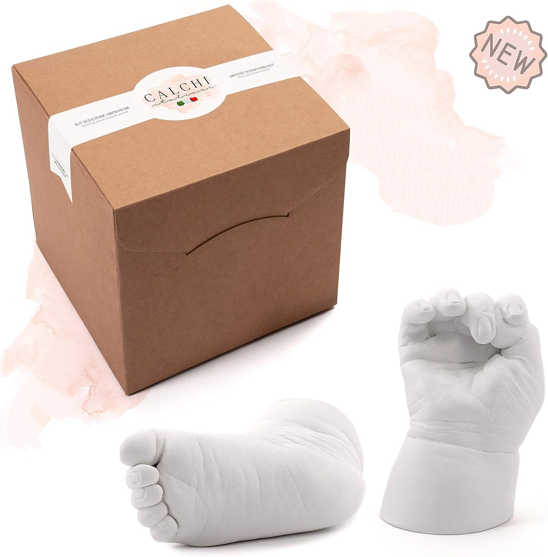 Kit Molde de Manos y Pies para 2 esculturas de Bebés y Niños | Idea Regalo Nacimiento, Bautismo y Cumpleaños | Kit Completo para Moldes y Huellas Recuerdo | Made in Italy