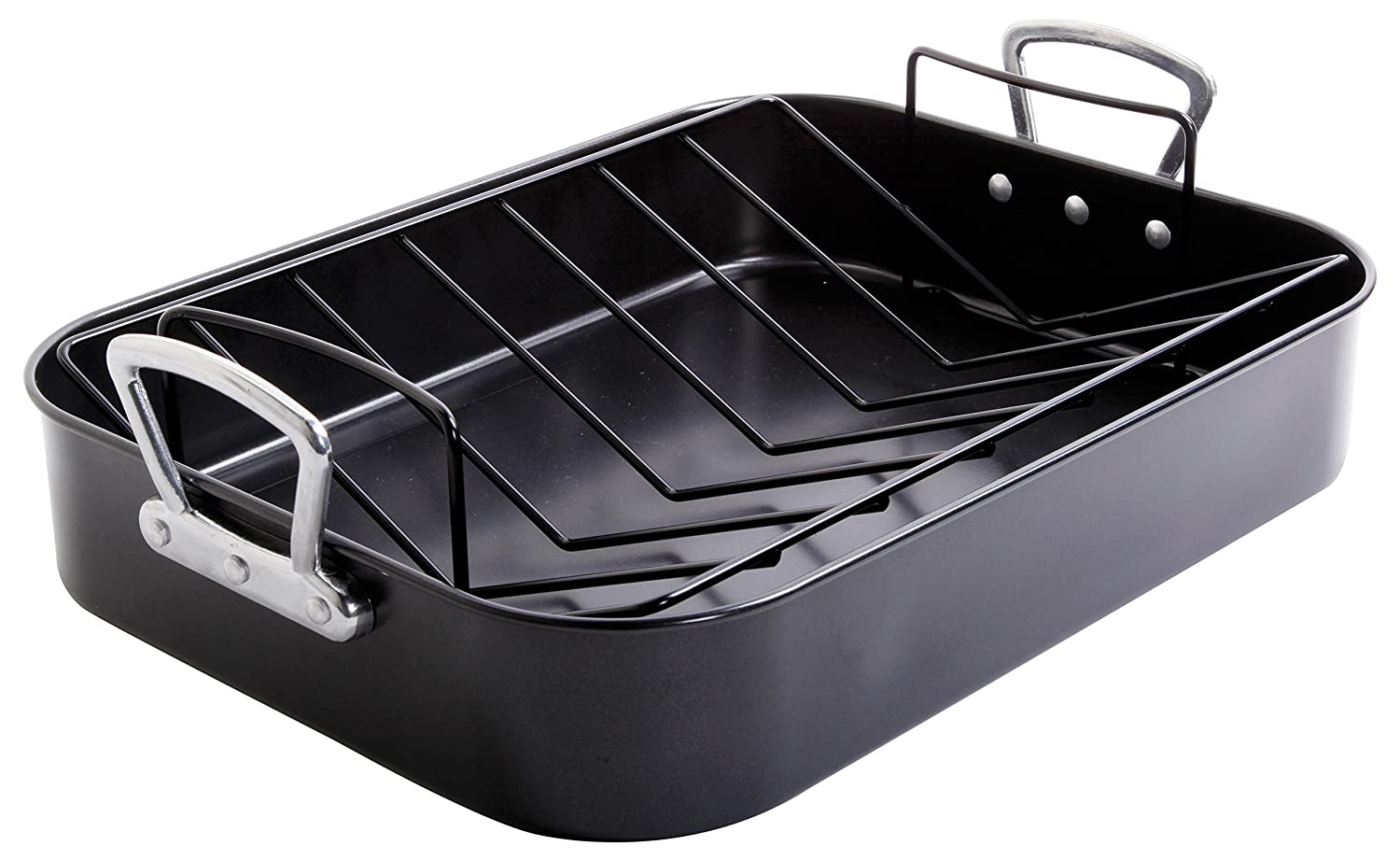 Gibson Home 89134.02 Broxton 2 Piece Non-Stick Turkey Roaster, Black