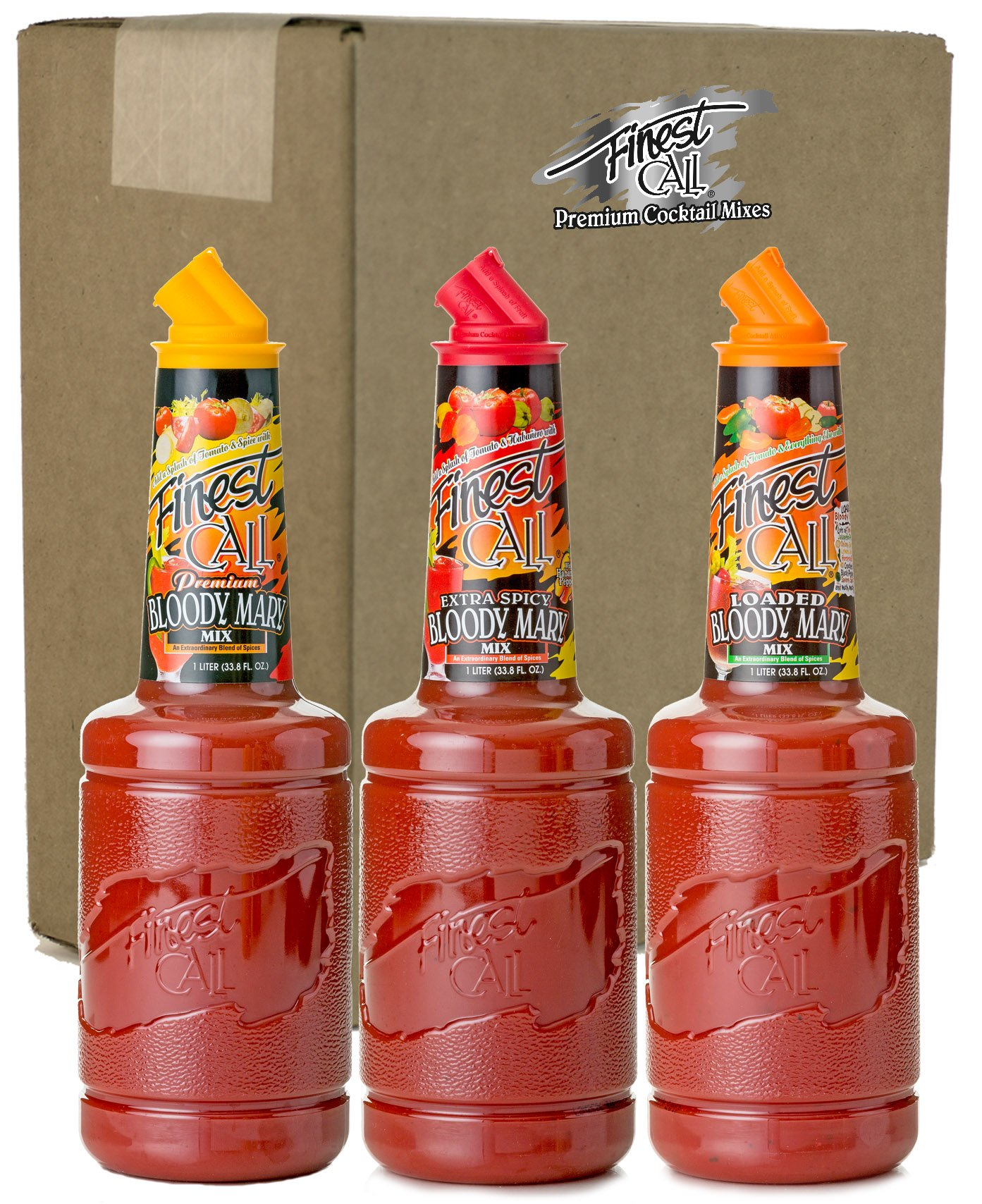 Finest Call Premium Bloody Mary Variety Pack, 1 Liter Bottles (33.8 Fl Oz), Pack of 3 Flavors