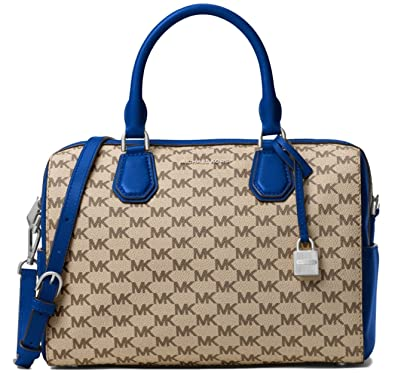 412c4bf11412 Amazon.com  Michael Kors Mercer Medium Heritage Logo Duffel Satchel  Crossbody Bag Natural Blue  Shoes
